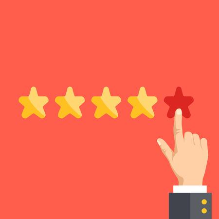 Illustration pour 5 stars. Positive feedback, best quality concept - image libre de droit