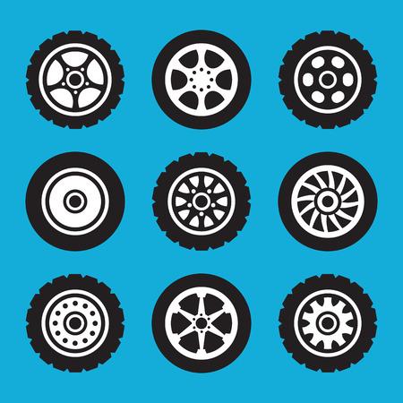 Illustration pour Tires and wheels icons set. Vector icons set - image libre de droit