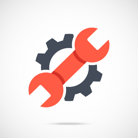 Gear and wrench icon. Red spanner and black cog. Creative graphic design logo element