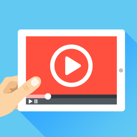Vektor für Hand holding tablet with video frame and play button. Video marketing, online cinema. Modern flat illustration - Lizenzfreies Bild