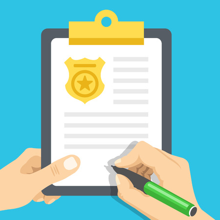 Police report. Traffic, parking fine, citation, crime report, problems with police, subpoena concepts. Flat illustration