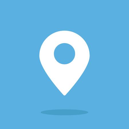 Illustration pour Location icon, map pin. Flat vector icon. White icon - image libre de droit