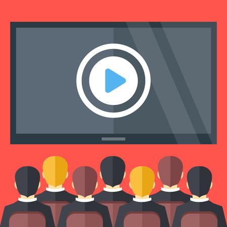 Ilustración de Sitting people and big black screen with play button. Cinema, business video presentation, corporate training concepts. Flat design vector illustration - Imagen libre de derechos