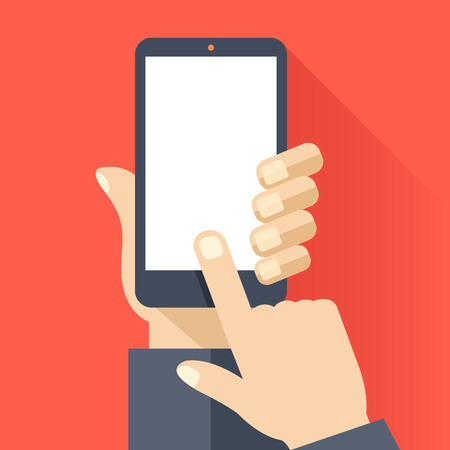 Ilustración de Smartphone with blank white screen. Hand hold smartphone, finger touch screen. Cellphone template. Modern flat design vector illustration - Imagen libre de derechos