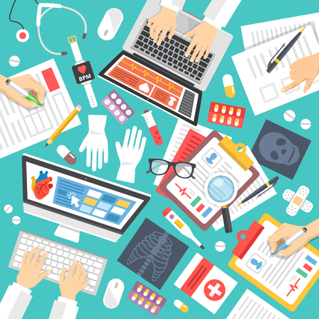 Vektor für Medical staff, scientists at work. Top view. Medicine icons set. Medical teamwork, diagnostics concepts. Flat design vector illustration - Lizenzfreies Bild