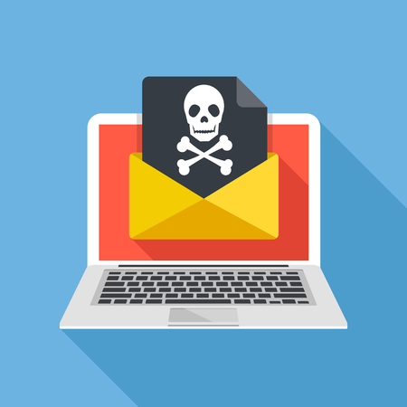 Illustration pour Laptop and envelope with black document and skull icon. Virus, malware, email fraud, e-mail spam, phishing scam, hacker attack concept. Trendy flat design graphic with long shadow. Vector illustration - image libre de droit