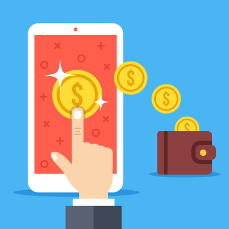 Vektor für Hand tapping on coin on smartphone screen, gold coins falling to wallet. Earn money online, pay per click, withdrawal, convert digital currency to cash concepts. Flat design vector illustration - Lizenzfreies Bild