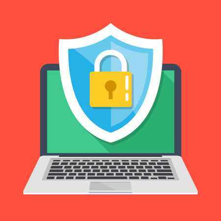 Computer security, protect your laptop concepts. Notebook and shield icon with padlock. Modern flat design vector illustration