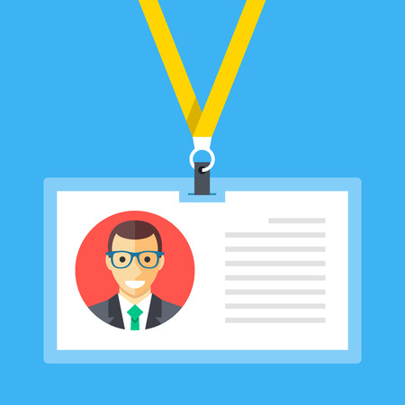 Illustration pour Identification card, lanyard, badge, id card concepts. Modern flat design vector illustration - image libre de droit