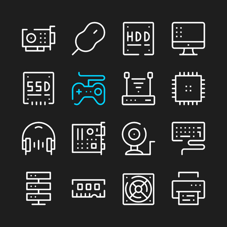 Computer hardware line icons. Modern graphic elements, simple outline thin line design symbols.