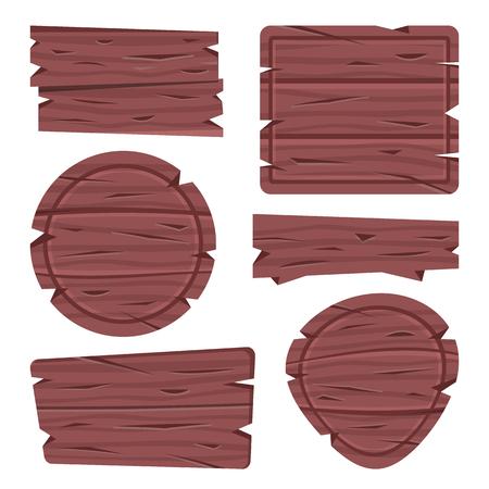 Wooden sign boards. Wood boards set. Vector illustration