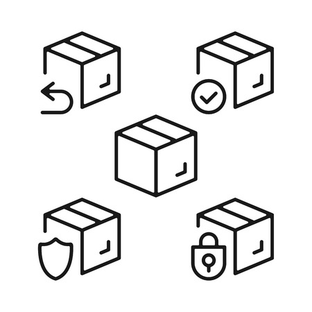 Boxes line icons set. Cardboard boxes, parcels, packages outline symbols. Delivery, shipping, transportation concepts. Modern graphic design elements collection.