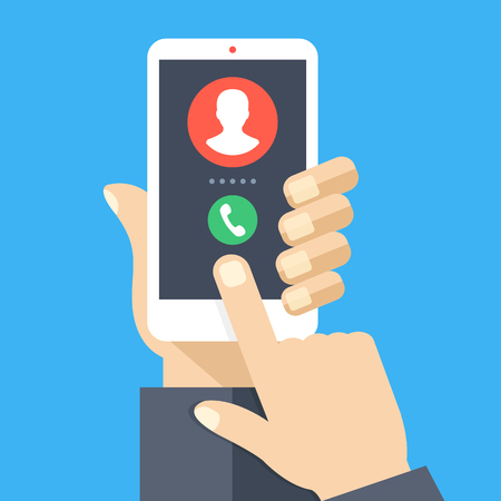 Illustration pour Incoming call. White smartphone with call screen. Answer the phone concept. Human hand holding cellphone, finger touching screen. Modern flat design graphic elements and objects. Vector illustration - image libre de droit