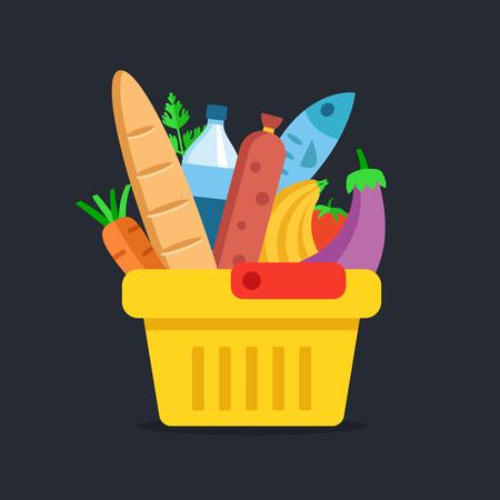 Illustration for Shopping basket with food. Grocery, supermarket concepts. Flat design. Vector illustration - Royalty Free Image