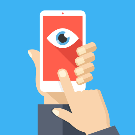 Illustration pour Face recognition, surveillance concepts. Hand holding smartphone, finger touching screen. Mobile phone with eye icon on screen. Flat design. Vector illustration - image libre de droit