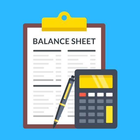 Illustration pour Balance sheet, calculator and pen. Flat design. - image libre de droit