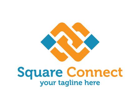 Illustration pour Business corporate abstract unity vector logo design template. Linked shape square symbol. Square unity logo design vector. - image libre de droit