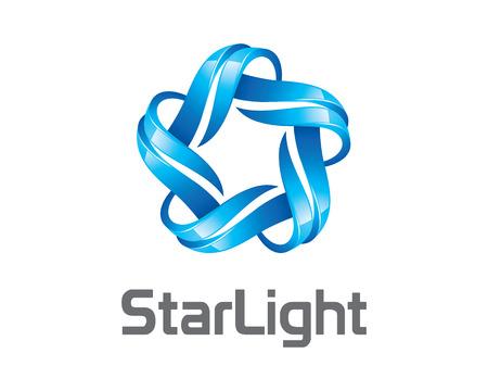 Ilustración de Abstract 3D star business identity logo template. 3D Star vector logo design branding corporate identity. 3D modern star vector . - Imagen libre de derechos