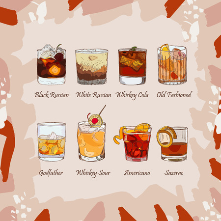 Illustration for Set of classic cocktails on abstract background. Fresh bar alcoholic drinks menu. Vector sketch illustration collection. Hand drawn. - Royalty Free Image