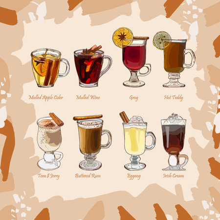Illustration for Hot classic cocktails illustration collection. Alcoholic hand drawn set. Bar warm seasonnal winter drink sketch menu. Mulled wine, Groh, Eggnog, Irish Coffee, Cider, Toddy, Tom and Jerry - Royalty Free Image