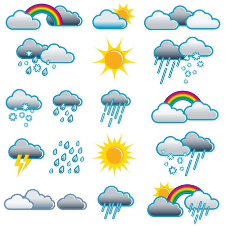 Weather icons of different weather situations; Weather symbols for all weather situations; Weather forecast; Weather report