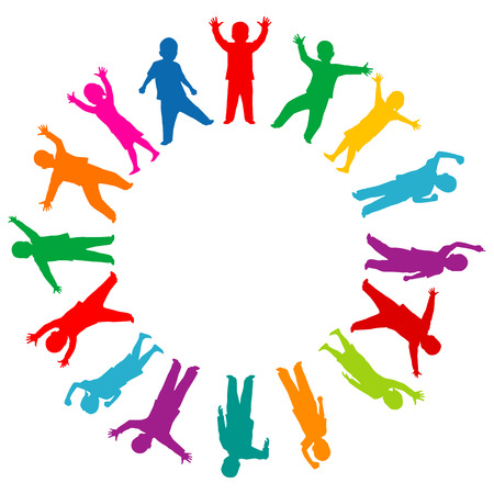 Ilustración de Colored children silhouettes in the circle - Imagen libre de derechos