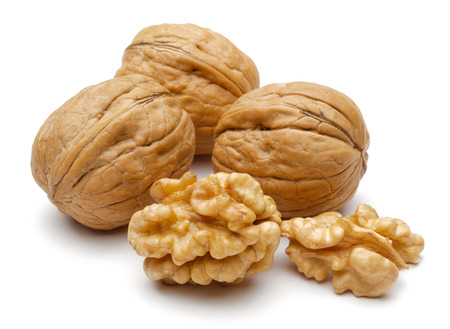 Photo for Whole and cracked walnuts isolated on white background - Royalty Free Image