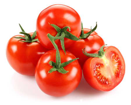 Photo for Whole and half tomatoes isolated on white background - Royalty Free Image