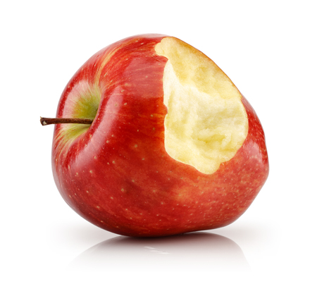 Photo for Bitten red apple isolated on white background - Royalty Free Image