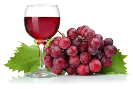 Foto für Red grapes and glass of wine with leaves isolated on white background - Lizenzfreies Bild