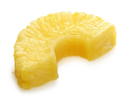 Sliced ripe pineapple fruit isolated on white background