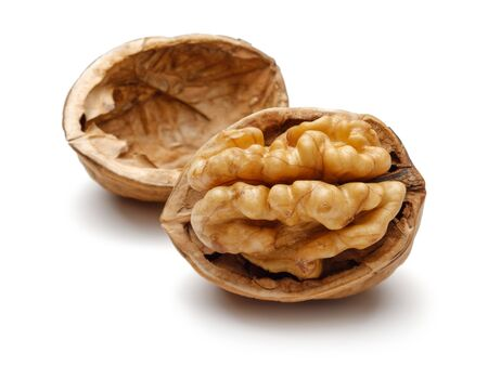 Photo for Cracked walnut isolated on white background - Royalty Free Image