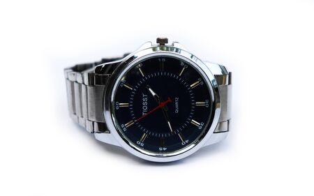 Photo pour Business man watch in white background. Men's stylish watches - image libre de droit