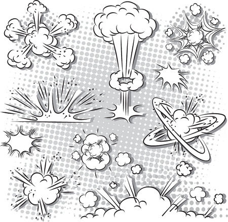 illustration of comic style explosion set in black and white