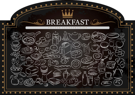 vector illustration of breakfast items on blackboard
