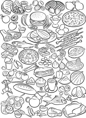 Illustration pour Vector illustration of food collection in line art mode - image libre de droit