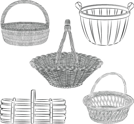set of traditional baskets in line art  mode