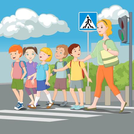 Illustration pour Kids crossing road with teacher. Vector illustration. - image libre de droit