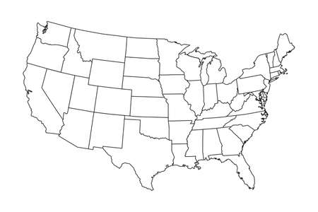 Illustration for High detailed map of USA with states borders - Royalty Free Image