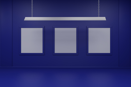 Frame on wall 3d render