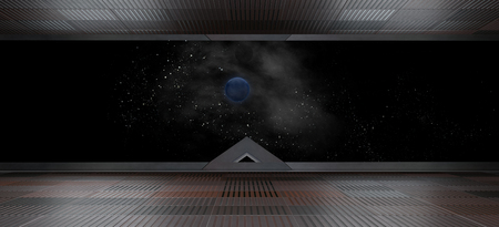 Foto per Spaceship futuristic interior with window view.3D rendering - Immagine Royalty Free
