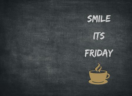 Photo pour Weekend celebration coffee cup break time off Friday smile happiness happy friend friendship background drink letterpress - image libre de droit