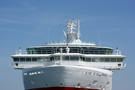 Command bridge on anchored cruise ship in The Baltic Sea