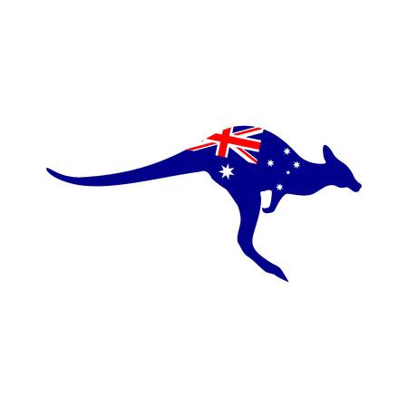 Vektor für Silhouette of a kangaroo with the flag of Australia - Lizenzfreies Bild