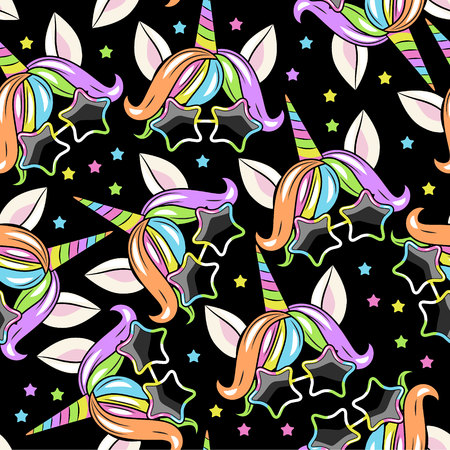 Illustration for pattern with head of unicorn on BLACK background - Royalty Free Image
