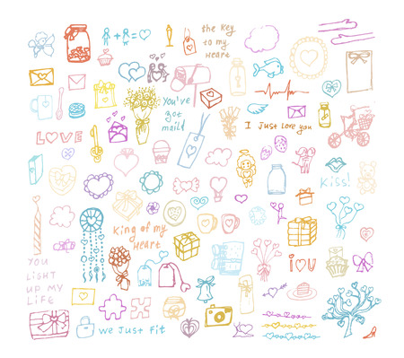 Illustration pour Set of multi color hand drawn elements about love. Sketchy hand drawn doodles cartoon set of Love and Valentine s Day objects and symbols - image libre de droit