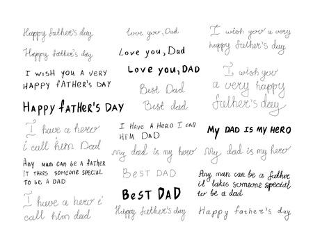 Illustration pour set of father s day inscriptions. - image libre de droit