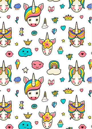 Illustration for Pattern with cute faces of unicorns, ice cream, stars, hearts, donut, rainbow, crowns, cupcake. Dreaming unicorns in bright colors - Royalty Free Image