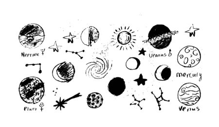 Illustration for Set of space objects planets, stars, circles, triangles Hand drawn vector - Royalty Free Image