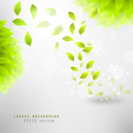 Illustration for green leaves, eco background eps10 - Royalty Free Image